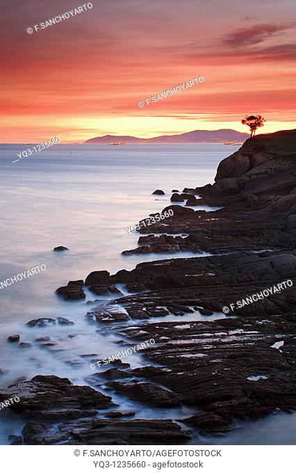 South wind on Ariseri cliffs at sunrise, Castro Urdiales, Cantabria, Spain