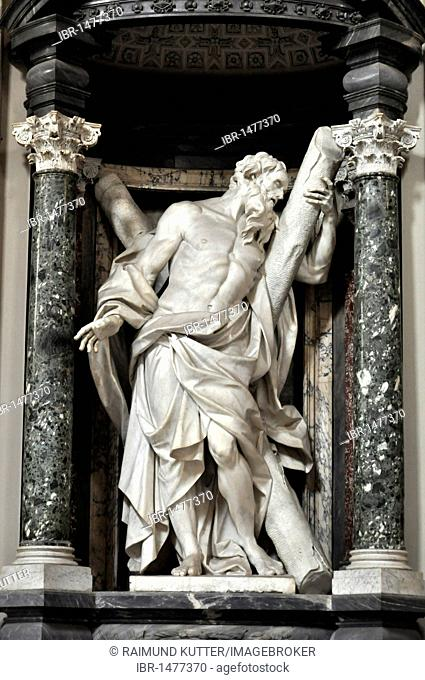 Statue of the apostle Andrew, nave, San Giovanni Basilica in Laterano, Rome, Lazio, Italy, Europe
