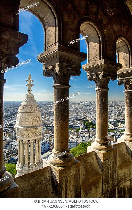 View from the top of Basilique du Sacre Coeur in Montmartre, Paris France