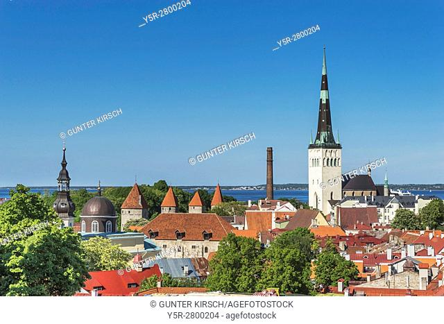 View over Tallinn to the city wall and the St. Olavs Church (Oleviste kirik). The church was built in Gothic style and is located in the northern part of the...