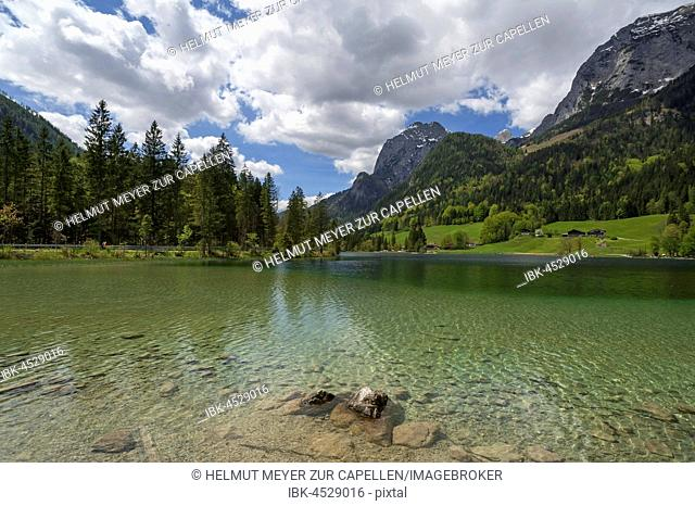 Lake Hintersee with Mühlsturzhörner, Hintersee, Berchtesgadener Land, Upper Bavaria, Germany