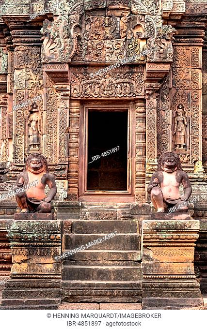 Guardian figures in Banteay Srei temple, Angkor Archaeological Park, Siem Reap, Cambodia