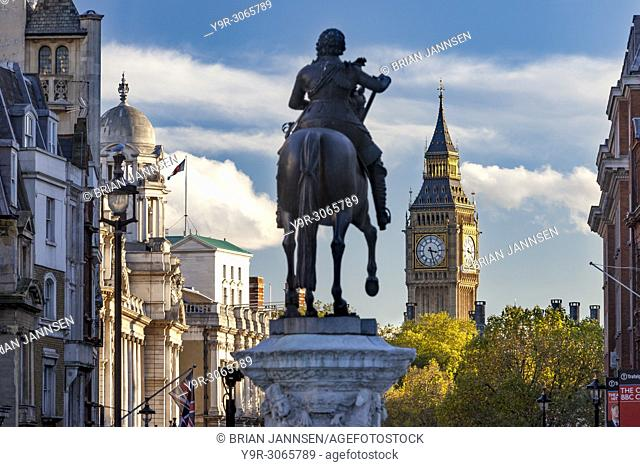 Statue of Charles I and view from Trafalgar Square down Whitehall toward Big Ben, London, England, UK