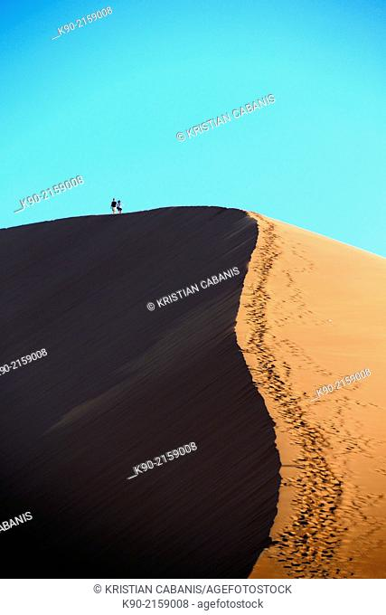 Two people are up on the top of the sand dunes in the sun, with shadow, Sossusvlei, Namib-Naukluft Park, Namibia, Africa
