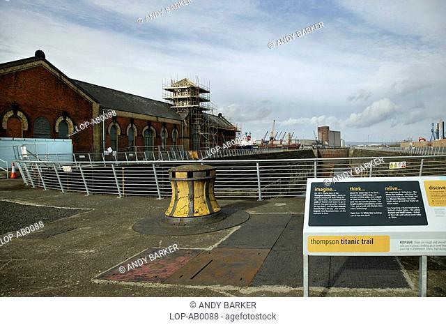 Northern Ireland, Belfast, Belfast City Harbour, The Thompson Graving Dock placard in the Titanic quarter of Belfast Docks