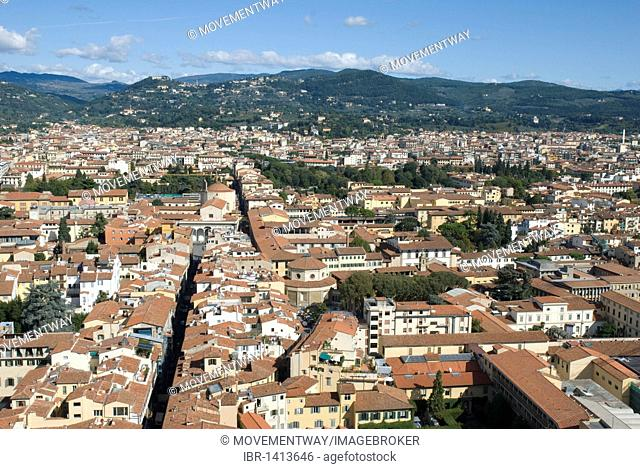 View from the Duomo or Santa Maria del Fiore cathedral, UNESCO World Heritage Site, Florence, Tuscany, Italy, Europe