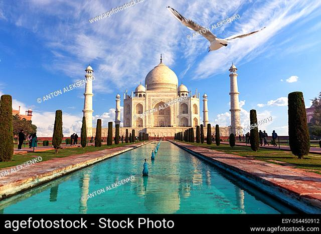 Taj Mahal mausoleum, famous India's sight, Agra