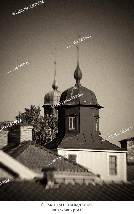 Old building rooftops in black and white. Small town building in Vadstena, Sweden