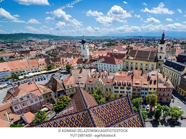 Old Town with Holy Trinity Church and Council Tower seen from Lutheran Cathedral of Saint Mary in Historic Center of Sibiu, Transylvania, Romania