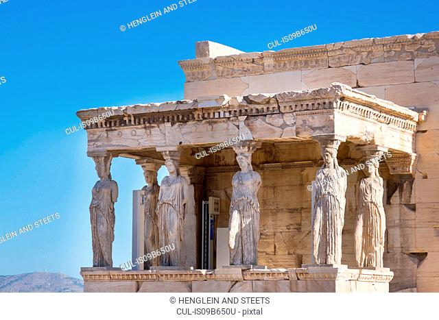The porch of the caryatids, Erechtheion Acropolis, Athens, Attiki, Greece, Europe