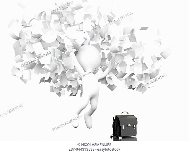 3d illustration. White people celebrating by throwing their business papers in the air. Success in business concept. Isolated white background