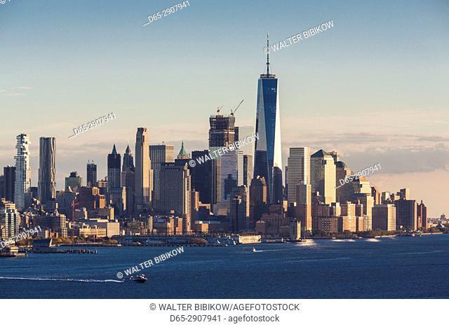 USA, New York, New York City, Lower Manhattan skyline with Freedom Tower, dusk