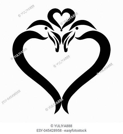 flamingo and love, heart, romance