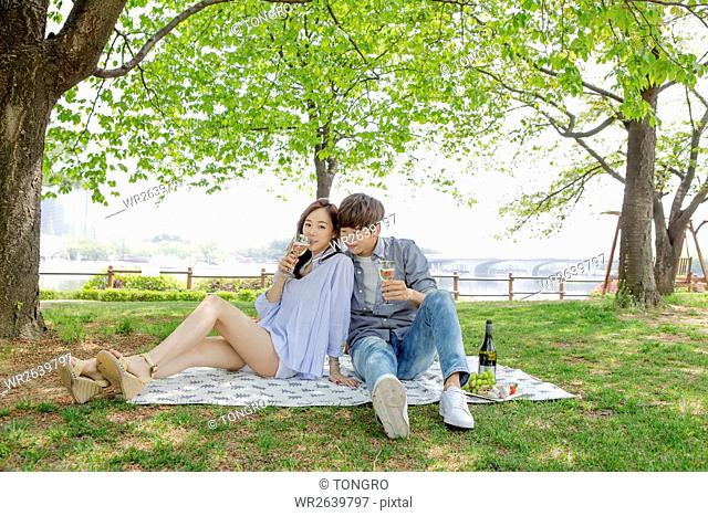 Young smiling couple having picnic at park in spring