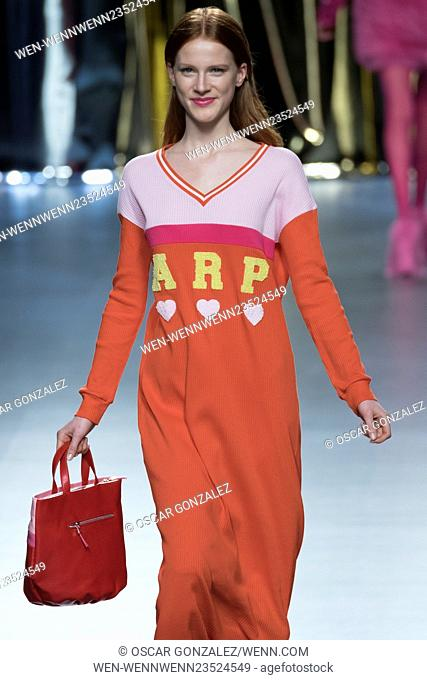 Madrid Fashion Week Fall/Winter 2016/17 - Ágatha Ruíz de la Prada - Catwalk Featuring: Model Where: Madrid, Spain When: 19 Feb 2016 Credit: Oscar Gonzalez/WENN