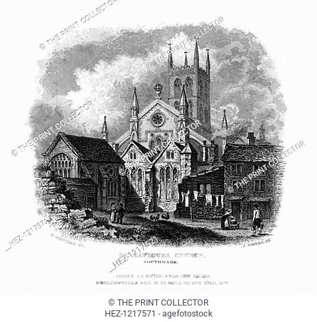 St Saviours Church, Southwark, London, 1829. Mainly built between 1220 and 1420, this church became the cathedral of the diocese of Southwark when it was...