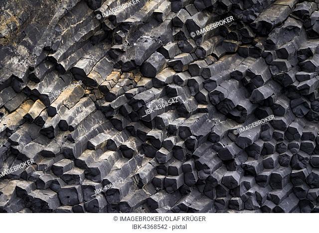 Basalt columns of lava rock, basalt lava, Reynisfjara, near Vík í Mýrdal, south coast, Iceland, Europe