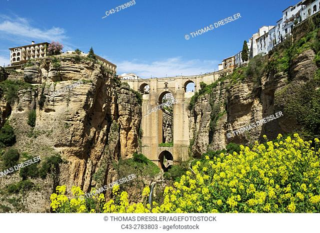 The White Town of Ronda high above the river gorge El Tajo (though the river itself is the Guadalevin). Top left the Parador, a luxury state-run hotel