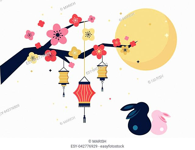 Mid Autumn Festival. Vector banner, background and poster