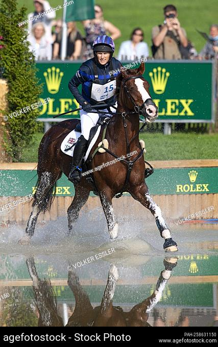 Zara TINDALL (GBR) on Class Affair, action in the water, in the Rolex Complex, eventing, cross-country C1C: SAP Cup, on September 18, 2021
