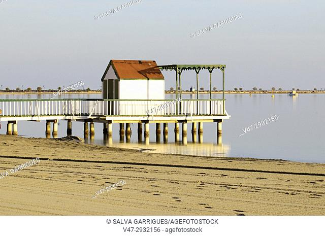 Beach cottage on the waters of the Sea In San Pedro del Pinatar, Mar Menor, Murcia, Spain
