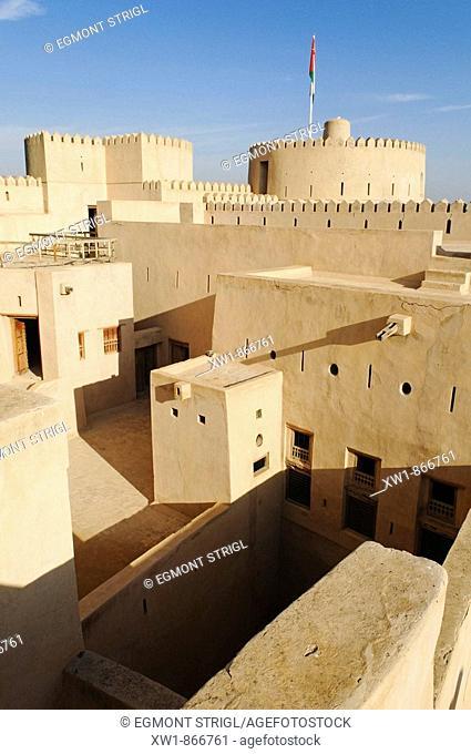 historic adobe fortification Rustaq Fort or Castle, Hajar al Gharbi Mountains, Batinah Region, Sultanate of Oman, Arabia, Middle East