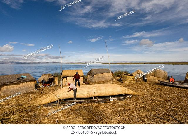 Uros Island, Lake Titicaca, peru, South America. Construction of a totora boat. Island of the Uros. These islands are built on a dense totora vegetation