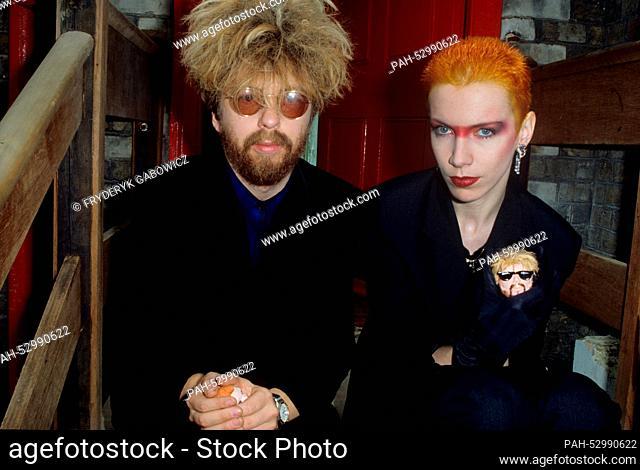David A. Stewart, Annie Lennox (Eurythmics) on 03.06.1983 in London. | usage worldwide. - London/United Kingdom of Great Britain and Northern Ireland