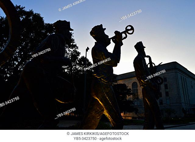 A sculpture of musicians stands in Congo Square, New Orleans, the traditional birthplace of jazz