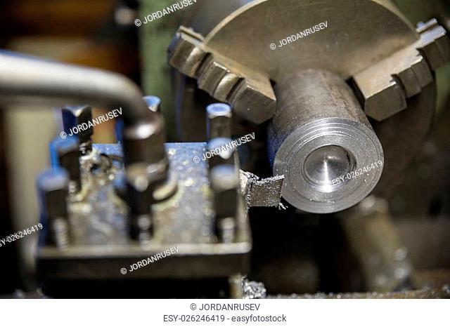 Metalworking industry, metal working on lathe grinder machine