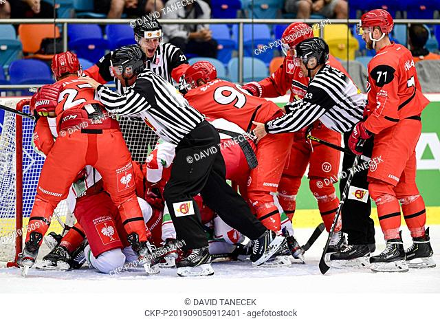 Hockey players in action during the Champions Hockey League H group game: Hradec Kralove vs Cardiff Devils in Hradec Kralove, Czech Republic, September 5, 2019