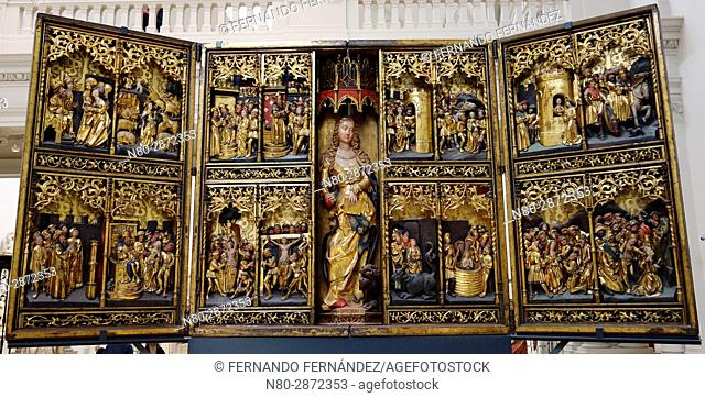 The St Margaret Altarpiece. Oak, painted and gilded. Germany. Hamburg. About 1520. The Victoria and Albert Museum. London. England. UK. Europe