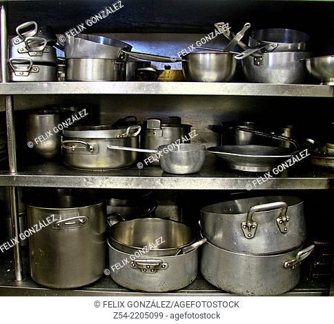 Many pans at kitchen restaurant