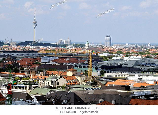View from Alten Peter, St. Peter's Church, towards Olympic Tower and the BMW Tower, Munich, Bavaria, Germany, Europe