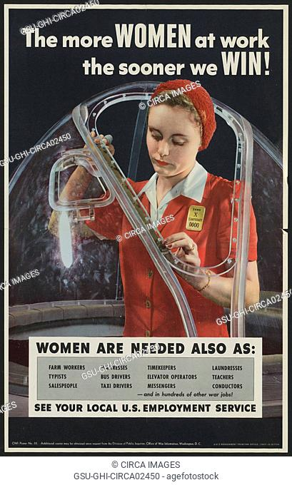 Employment Poster Recruiting Female Workers during World War II, USA, Alfred T. Palmer for Office of War Information, 1943