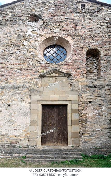 Entrance of the church of Santa Maria de Lillet in La Poble de Lillet, Bergueda, Barcelona province, Catalonia, Spain