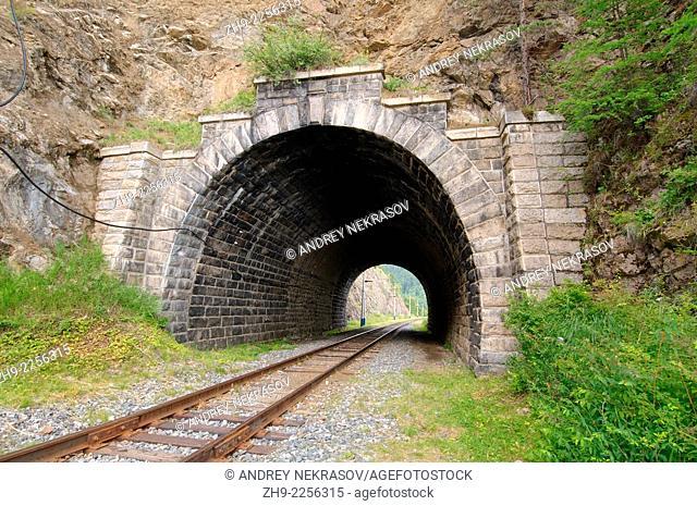 Railway tunnel, Circum-Baikal Railway, Trans-Siberian Railway, Irkutsk Oblast, Siberia, Russian Federation