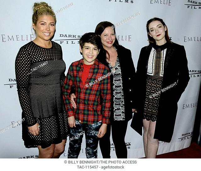 "Elizabeth Jayne, Joshua Rush, Robin Bennet and Lizzie Friedman attends the premiere of Dark Sky Films' """"Emelie"""" at Arena Cinema Hollywood on March 4"