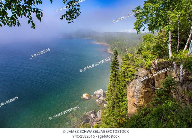 Rocky shore of Lake Superior near Spilt Rock Lighthouse on the north shore of Lake Superior in Minnesota
