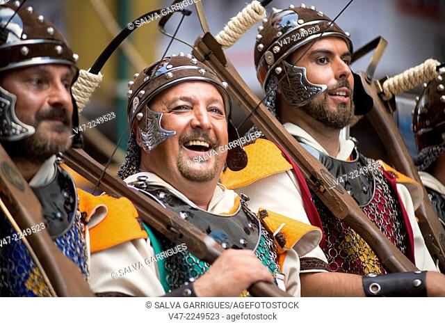 Participants of the Moors and Christians, row of archers, Ontinyent, Valencia, Spain, Europe