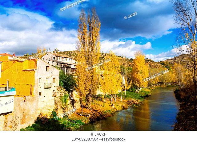 Autumn landscape. River Tajo at Trillo in autumn. Guadalajara, Spain
