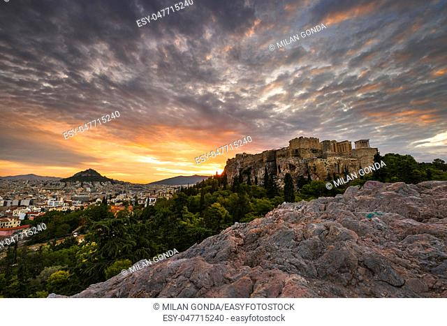Acropolis as seen from Areopagus hill early in the morning.