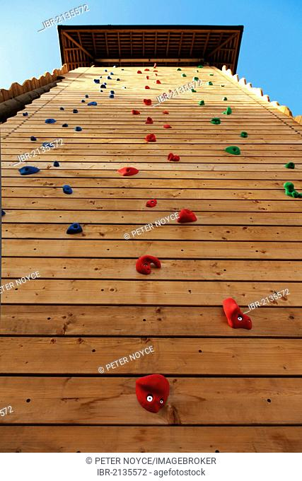 Wooden climbing tower with climbing handholds, Farnborough, England, United Kingdom, Europe