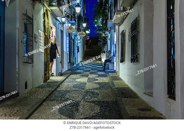 Night vision of an Altea old town street in Alicante province, Spain