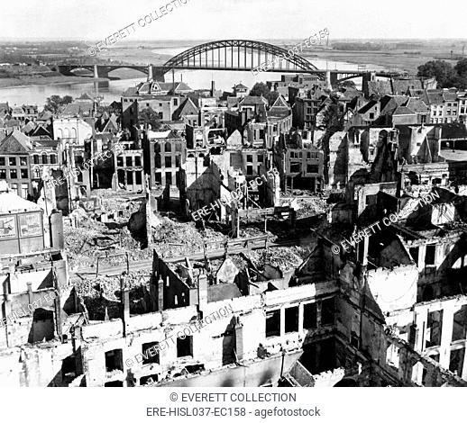 Nijmegen, Holland, with a view of the bridge over the Rhine River. The bridge was a key objective of the unsuccessful Operation Market Garden, of Sept