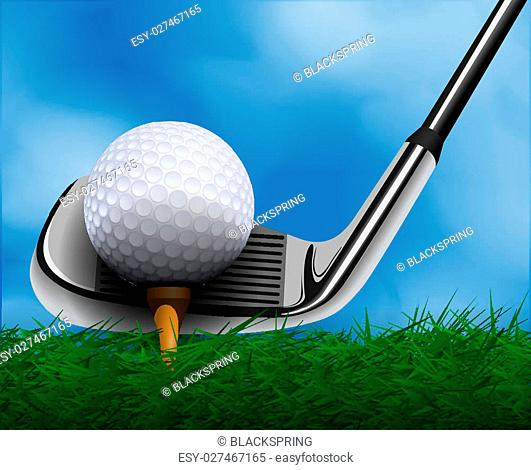 Golf ball and club in front of grass