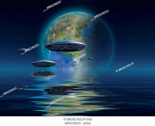 Spacecrafts flies over ocean, Terraformed moon at the horizon