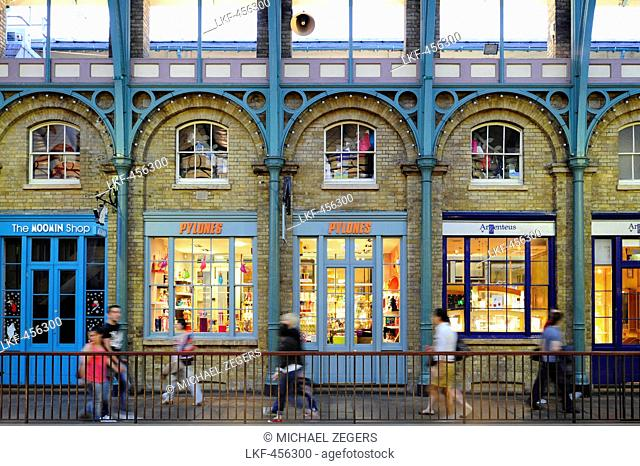 Shops in Covent Garden Central Market, Covent Garden quarter, West End, London, England, Great Britain, United Kingdom