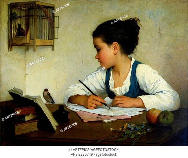 Browne, Henriette - A Girl Writing; The Pet Goldfinch -