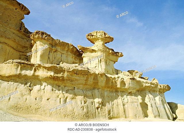 Rock formation, Bolnuevo, Puerto de Mazarron, Murcia, Costa Calida, Spain